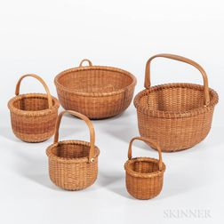 Five Modern Woven Nantucket Baskets