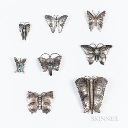 Eight Navajo Silver and Turquoise Butterfly Pins