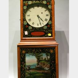 Edwin and Hershel Burt A. Willard Federal-style Mahogany and Reverse-Painted Shelf   Clock