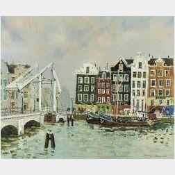 Jacques Bouyssou (French, b. 1926)  Amsterdam, Le Pont Levis