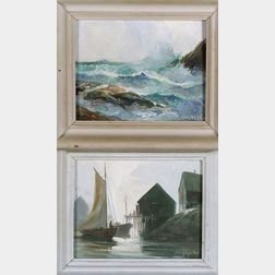 William Edward de Garthe (Canadian, 1907-1983)  Lot of Two Coastal Views Including: Drying Sail   and Peggy's Cove