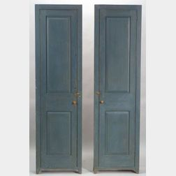 Pair of Shaker Blue Painted Pine Raised Panel Cupboards
