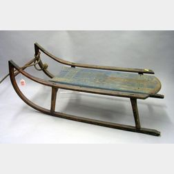 Late Victorian Childs Paint Decorated Ash Sled.