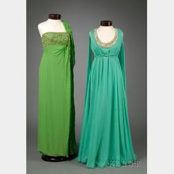 Two Vintage Lillie Rubin Bead and Jewel Embellished Silk Organza Gowns