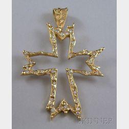 14kt Gold and Diamond Cross