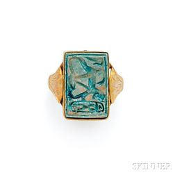 Two Gold and Faience Rings