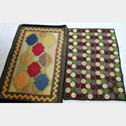 Pieced and Embroidered Penny Rug and a Geometric Pattern Hooked Rug