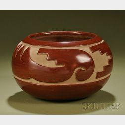 Southwest Carved Pottery Bowl