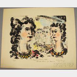 Chaim Gross (American, 1904-1991)      Four Female Faces