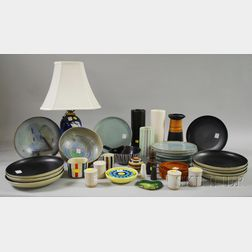 Group of 20th Century Modern Pottery, Table Items, Kitchenware, and a Royal   Copenhagen Poppy-decorated Porcelain Table Lamp