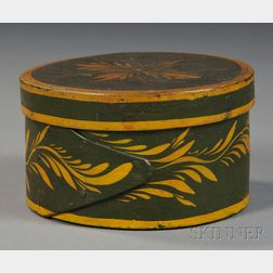 Green and Yellow Paint-decorated Lapped-seam Covered Box