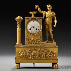 Figural Gilt-bronze Mantel Clock