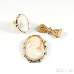 14kt Gold Cameo Brooch, Ring, and Bow Brooch