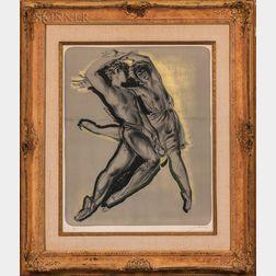 Hans Erni (Swiss, 1909-2015)    Two Ballet Dancers (Pas de Deux)