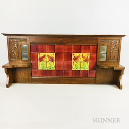 Carved Oak Gallery with Inset Art Nouveau Pottery Tiles