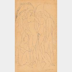 Max Weber (American, 1881-1961)      Cubist Female Nudes