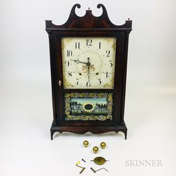 Seth Thomas Reverse-painted Mahogany Pillar and Scroll Clock