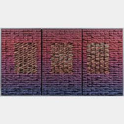 Joan Sterrenburg (b. 1941) Game Plan   Triptych Textile