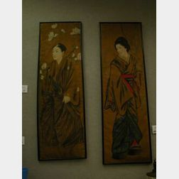 Pair of Japanese Painted Portraits on Silk.