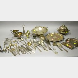 Ten Silver Plated Serving and Flatware Items.