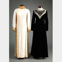 Two Vintage Lillie Rubin Long-sleeve Bead Embellished Gowns