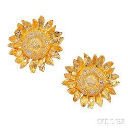 18kt Gold and Diamond Earclips, Asprey