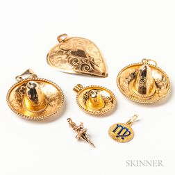 Five Gold Figural Pendants