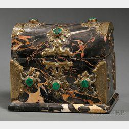 Malachite and Brass-mounted Marble Perfume Box