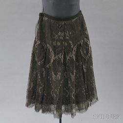 Hermès Brown and Metallic Knit A-line Skirt with Scalloped Bottom
