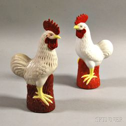 Two Porcelain Roosters