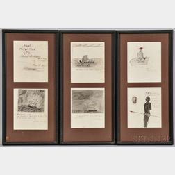 "Six Framed Pages from the ""Private Scrap Book"" of Lucius M. Mason, U.S. Navy"