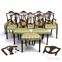 Set of Ten Federal-style Carved Mahogany Dining Chairs