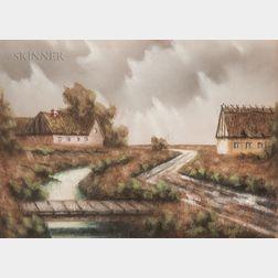 Danish School, 20th Century      Framed Pastel Landscape