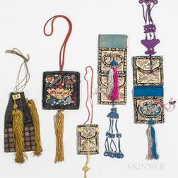 Five Embroidered Purses and Belt Pockets