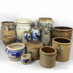 Thirteen Stoneware Jars, Crocks, and a Water Cooler