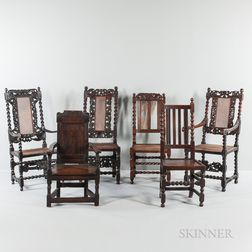 Six Oak and Walnut Chairs
