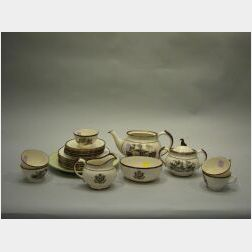 Twenty-two Piece Lenox 1933 Architects Copper Lustre and Transfer Decorated Porcelain Tea Set and a Plate.