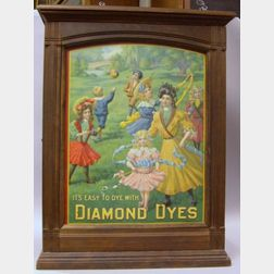 Its Easy to Dye with Diamond Dyes Lithographed Pressed Metal and Wooden Retail Display Cabinet.