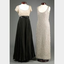 Two Vintage Lillie Rubin Beaded Gowns