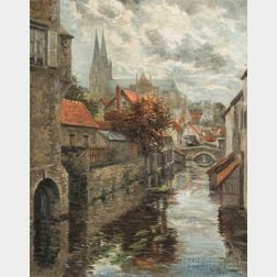 Georges Plasse (French, b. 1878)      After the Rain, Chartres Cathedral and the River Eure...