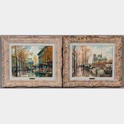 Jean Salabet (French, b. 1900)      Two Paris Views: Flower Market at La Madeleine