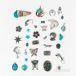 Thirty-four Navajo and Zuni Silver and Turquoise Pendants and Pins