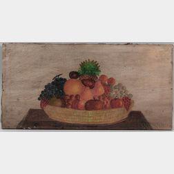 American School, 19th Century      Still Life Basket of Fruit