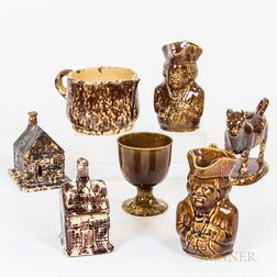 Seven Pieces of Rockingham-glazed and Bennington Pottery