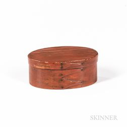 Shaker Small Red-painted Oval Pantry Box