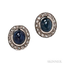 White Gold, Sapphire, and Diamond Earrings