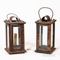 Two Glazed Wooden Candle Lanterns