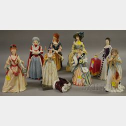 Eight Royal Doulton Porcelain Royalty Figures