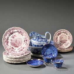 Twenty-one Transfer-printed Staffordshire Pottery Table Items
