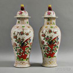 Pair of Covered Ceramic Temple Jars